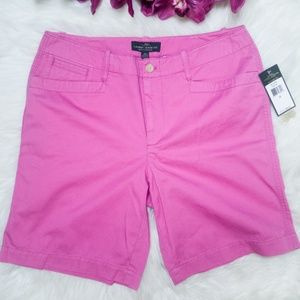 "LRL Pink Mid Rise 9"" Inseam Midi Cotton Shorts 12"